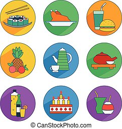 flat icons of food and drinks - Flat icons of food and...