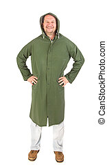Man in rain green long coat Isolated on a white background...