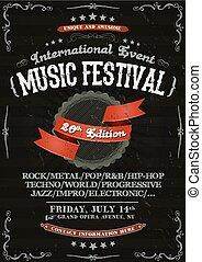 Vintage Festival Invitation Poster On Chalkboard -...