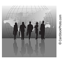Businessmen and World Map - Silhouettes with World Map