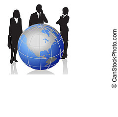 Businessmen and World Globe - Silhouettes with a World Globe...