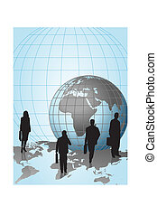 Businessmen and World Globe - Silhouettes with a Globe on...