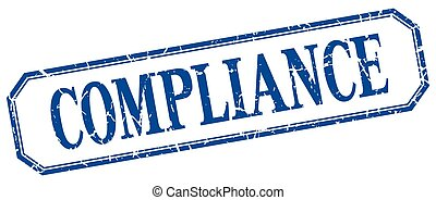 compliance square blue grunge vintage isolated label