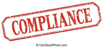 compliance square red grunge vintage isolated label