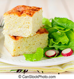 Zucchini Rice Slice with Green Leaf Salad - Zucchini Rice...