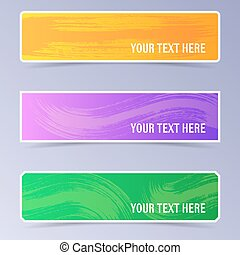 Vector banners with brush strokes