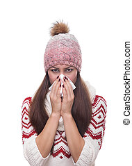 Runny nose of the girl - Runny nose of the girl in winter...