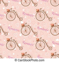 Vector wedding retro bicycle seamless pattern. - Vector...