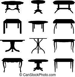 tables set - Collection of different tables silhouettes....