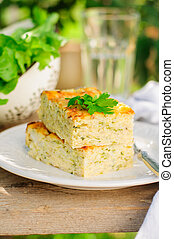 Zucchini Rice Slice with Cheese, copy space for your text