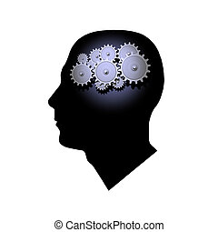 Brain Gears - 3D Gears inside the profile of a mans head