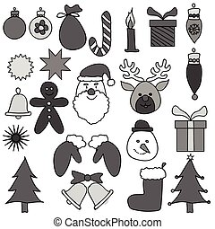 Christmas Ornament Drawing Set Gray