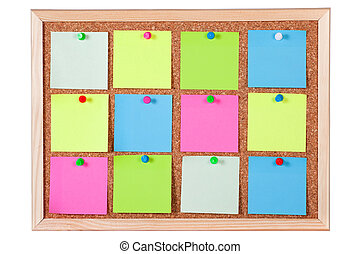 Colorful Paper Notes on Corkboard - Pieces of blank colorful...
