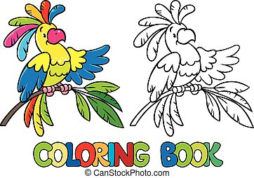 Coloring book or coloring picture of funny parrot on the...
