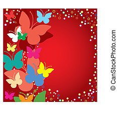 Red background with butterflies, vector illustration