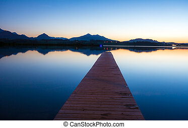 Blue Hour at Lake Hopfen Bavaria, Germany