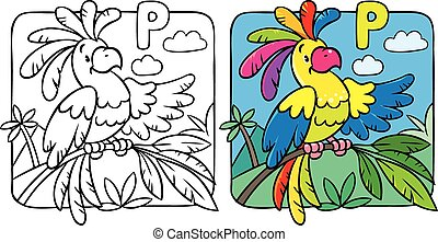 Coloring book of funny parrot. Alphabet P