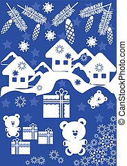 Winter card with small houses and gift box
