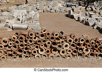 Ancient Sewerage Pipes of Ephesus City in Izmit, Turkey