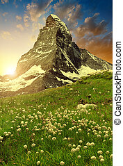 Views of the Matterhorn at sunset - Swiss Alps