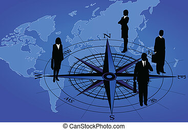 Compass and Businessmen - Abstract background with world map...