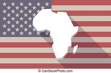 Long shadow vector USA flag icon with  a map of the african continent