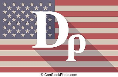 Long shadow vector USA flag icon with a drachma currency...