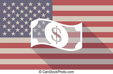 Long shadow vector USA flag icon with a dollar bank note -...