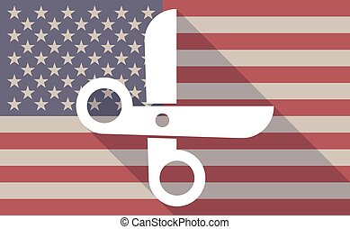 Long shadow vector USA flag icon with a scissors