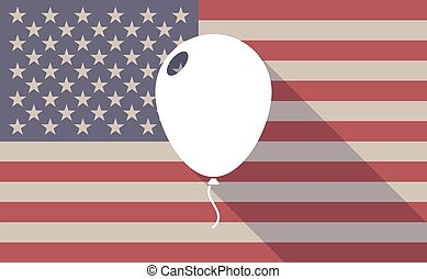 Long shadow vector USA flag icon with a balloon