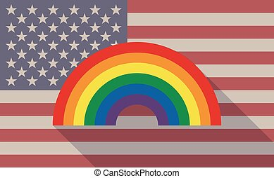 Long shadow vector USA flag icon with a rainbow