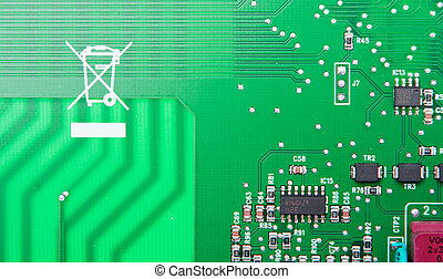 Green computer circuit - Close up of a green computer...