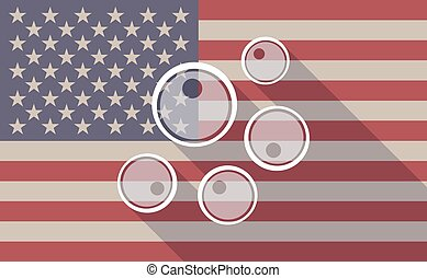 Long shadow vector USA flag icon with oocytes - Illustration...