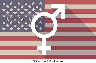 Long shadow vector USA flag icon with a transgender symbol -...