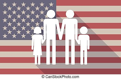 Long shadow vector USA flag icon with a gay parents family...