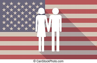 Long shadow vector USA flag icon with a heterosexual couple...