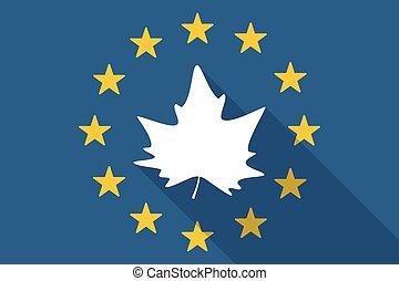 European Union  long shadow flag with an autumn leaf tree