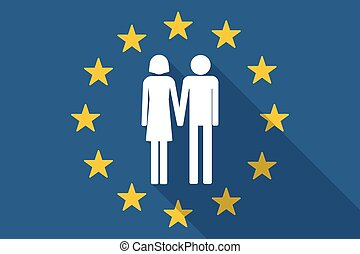 European Union long shadow flag with a heterosexual couple...