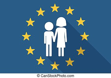European Union long shadow flag with a childhood pictogram -...