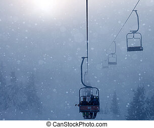 Ski lift, travel, foggy mountains, tourism  winter