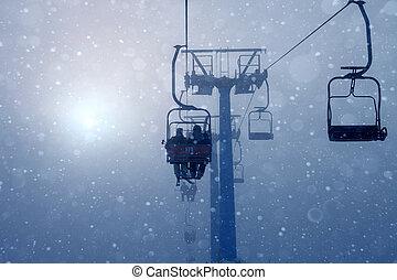 Ski lift, travel, foggy mountains, tourism  winter