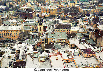 European city - Panoramic view of winter European city