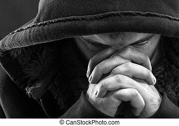 Praying bandit - Despair bandit praying God for forgiveness