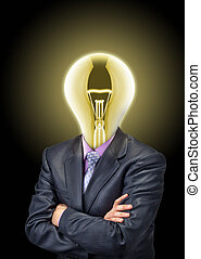Businessman with glowing bulb instead of the head