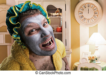 Strange man with face pack in home interior