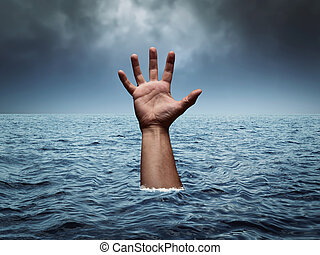 Drowning hand in stormy sea asking for help