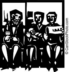 Waiting Room - Woodcut style expressionist image of people...