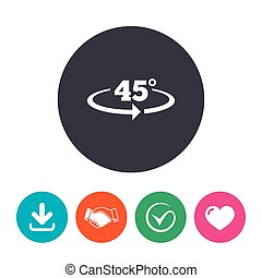 Angle 45 degrees sign icon. Geometry math symbol. Download...