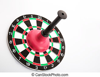 Dart board with plunger on white background