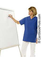 doctor / medical assistent in front of the flipchart